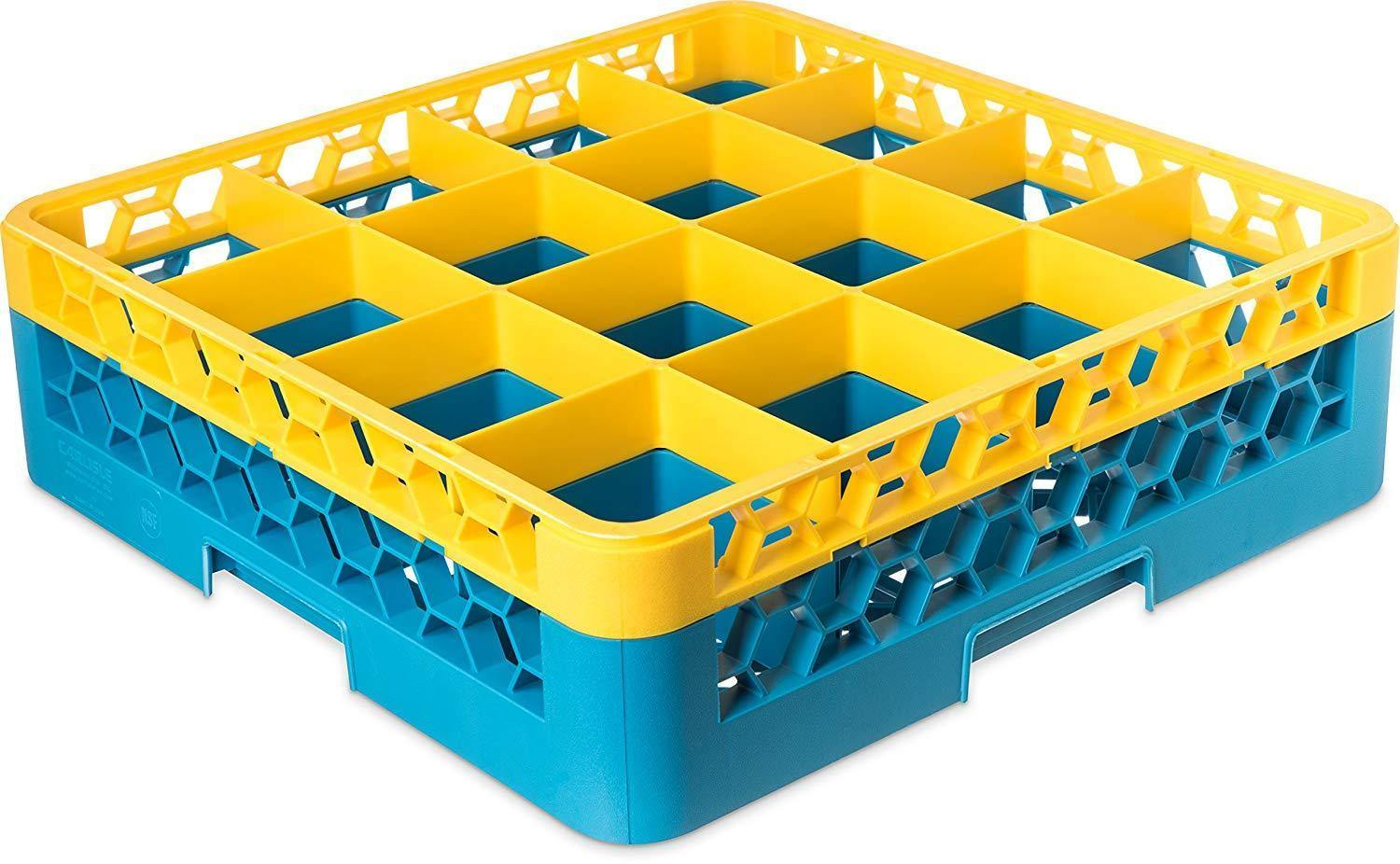 Carlisle RG16-1C411 Opticlean 16 Compartments Yellow Color-Coded Glass Rack with 1 Extender