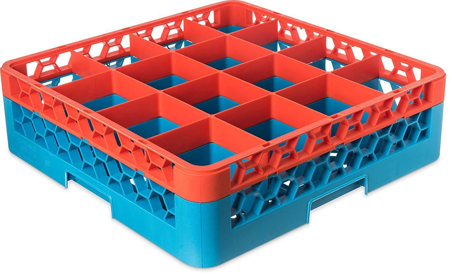 Carlisle RG16-1C412 Opticlean 16 Compartments Orange Color-Coded Glass Rack with 1 Extender