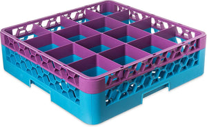 Carlisle RG16-1C414 Opticlean 16 Compartments Lavender Color-Coded Glass Rack with 1 Extender