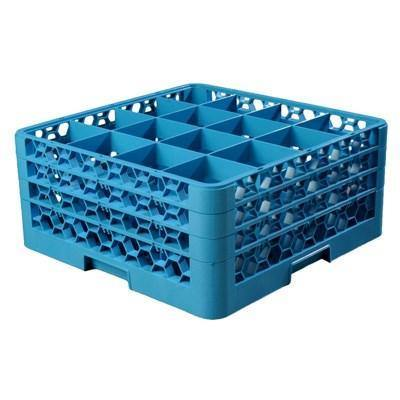 Carlisle RG16-314 Opticlean 16 Compartments Blue Color-Coded Glass Rack with 3 Extenders