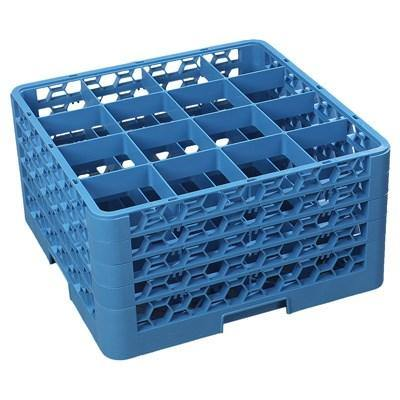 Carlisle RG16-414 Opticlean 16 Compartments Blue Color-Coded Glass Rack with 4 Extenders