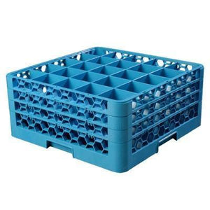 Carlisle RG25-314 Opticlean 25 Compartments Blue Glass Rack with 3 Extenders