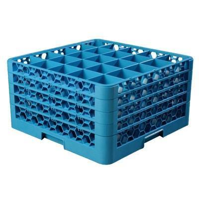 Carlisle RG25-414 Opticlean 25 Compartments Blue Glass Rack with 4 Extenders
