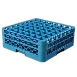 Carlisle RG49-214 Opticlean 49 Compartments Blue Glass Rack with 2 Extenders