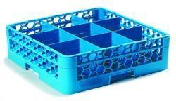 Carlisle RG9-114 Opticlean 9 Compartments Blue Glass Rack with 1 Extender