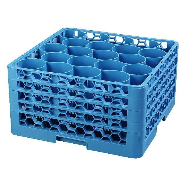 Carlisle RW20-314 Opticlean Newave 20 Compartments Blue Glass Rack with 4 Extenders