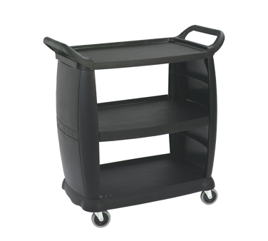 "Carlisle CC203603 3-Tier Bus Cart, 36""L x 18""W, Polypropylene, Black"