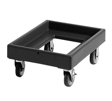 Cambro CD300131 Camdolly, 25-1/2L x 19-1/4W x 10-1/2H exterior dimensions, load capacity 350 lbs., 5 casters 2 fixed, 2 swivel, 1 with brake, dark brown, NSF