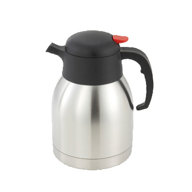Winco CF-1.5 Carafe with Black/Red Push Button Top - 1.5 Liter