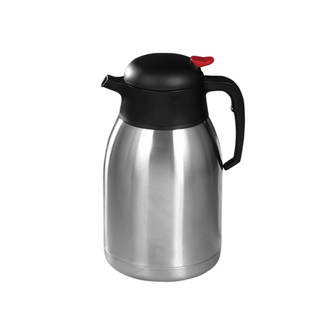 Winco CF-2.0 Carafe, Double-Wall Insulated with Black/Red Push Button Top -  2 Liter