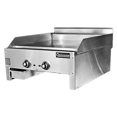 "Connerton CG-24-T-S 1"" Griddle, countertop, gas, 24""W x 22""D x 1"" thick highly polished steel griddle plate, (2) thermostatic controls, 44,000 BTU, NSF, CSA"