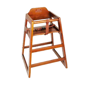 "Winco CHH-104A High Chair, 20""H seat, buckle strap, stackable, rubber wood, walnut finish"