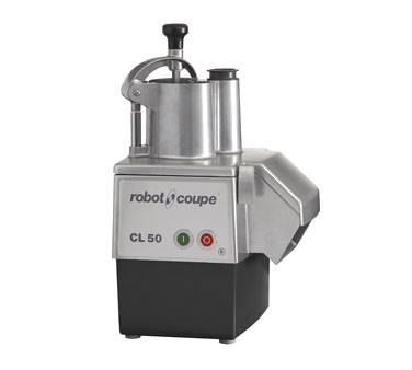Robot Coupe CL-50E Commercial Food Processor, includes: vegetable prep attachment with kidney shaped & cylindrical hopper (no bowl), (1) 3mm grating disc (28058), (1) 3mm slicing disc (28064), 2-disc rack