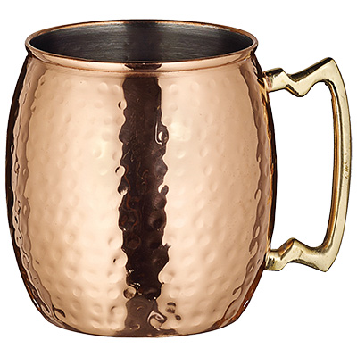 Winco CMM-20H Moscow Mule Mug, 20 oz., short, brass handle, copper plated stainless steel, hammered finish
