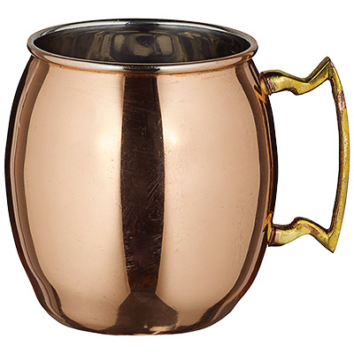Winco CMM-20 Moscow Mule Mug, 20 oz., short, solid, brass handle, copper plated stainless steel