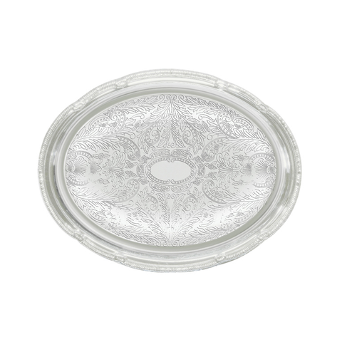 "Winco CMT-1014 Serving Tray, 14-3/4"" x 10-1/2"", oval, gadroon edge with traditional engraving, hand wash only, chrome plated"