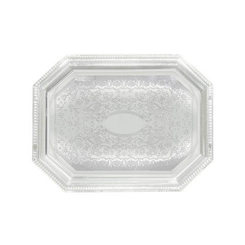"Winco CMT-1217 Serving Tray, 17"" x 12-1/2"", octagonal, gadroon edge with traditional engraving, hand wash only, chrome plated"