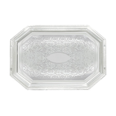 "Winco CMT-1420 Serving Tray, 20"" x 14"", Octagonal, Chrome Plated"