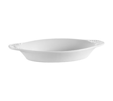"CAC China COA-15-P Welsh Rarebit Baking Dish, 15 oz., 10-1/2""L x 5-3/8""W x 1-3/8""H, oval, 3dz Per Case"