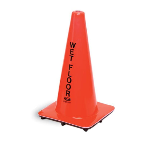 "Continental 125ORENG Caution Cone 18""H x 11"" Square Base, ""Wet Floor"", English, Orange"