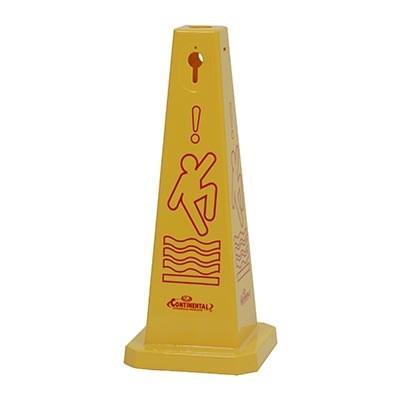"Continental 221YW Floor Cone, 26""H, ""Caution"", Plastic, Yellow"