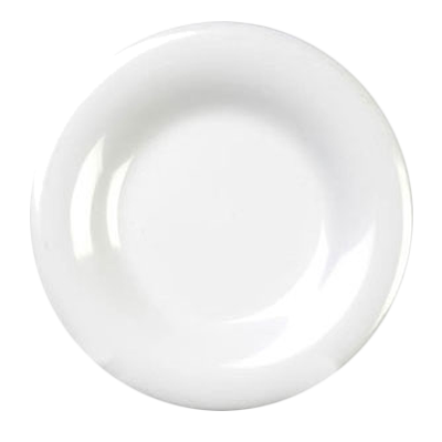 "Thunder Group CR007W 7-7/8"" White Wide Rim Melamine Plate"
