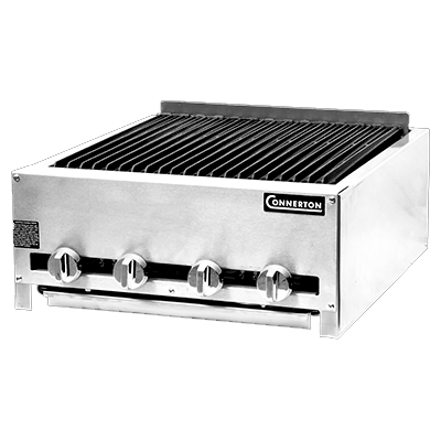 "Connerton CRB-24-S Charbroiler, countertop, gas, 24""W, cast iron radiants & top grates with grease flow channels, manual controls, 48,000 BTU, NSF, CSA"