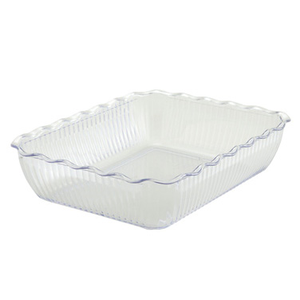 "Winco CRK-13C Deli Crock, 13"" x 10"" x 3"", rectangular, fluted, BPA free, SAN, clear"