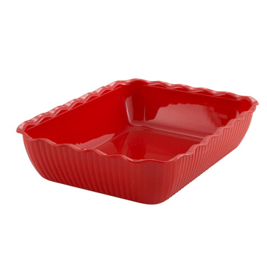 "Winco CRK-13R Deli Crock, 13"" x 10"" x 3"", rectangular, fluted, BPA free, SAN, red"