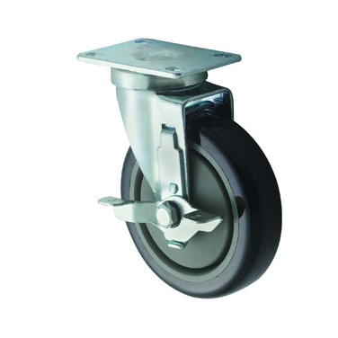 "Winco CT-23B Universal Caster Set, 5"" dia. wheel (raise height of equipment 6""), with 3-5/8"" x 2-3/8"" plate & brake, 220 lbs. capacity, temperature range 14° to 212° F, grease resistant, polyurethane"