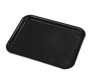 "Carlisle CT101403 Café Tray, 13/7/8""L x 10-3/4""W, rectangular, drying/stacking lugs, skid and scratch resistant, polypropylene, black, NSF"