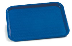 "Carlisle CT101414 Café Tray, 13/7/8""L x 10-3/4""W, rectangular, drying/stacking lugs, skid and scratch resistant, polypropylene, blue, NSF"