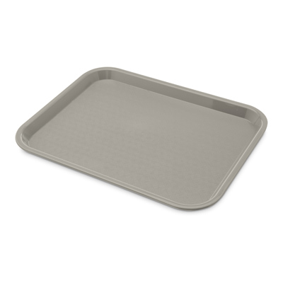 "Carlisle CT101423 Café Tray, 13/7/8""L x 10-3/4""W, rectangular, drying/stacking lugs, skid and scratch resistant, polypropylene, gray, NSF"