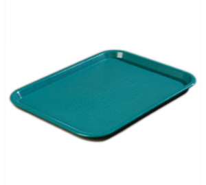 "Carlisle CT121615 Café Tray, 16-5/16""L x 12""W, rectangular, drying/stacking lugs, skid and scratch resistant, polypropylene, teal, NSF"