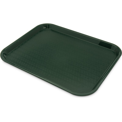 "Carlisle CT141808 Café Tray, 17-7/8""L x 14""W, rectangular, drying/stacking lugs, skid and scratch resistant, polypropylene, forest green, NSF"