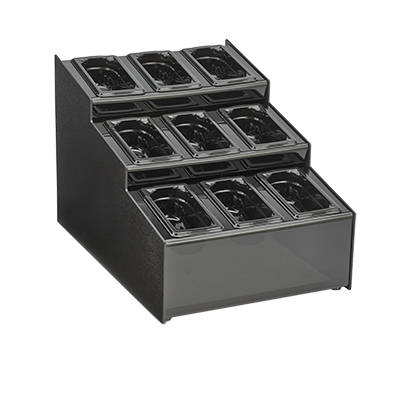 "Vollrath CTCPAN9-9 Countertop Condiment Organizer, 15-1/2""W x 22""D x 14-5/8""H, accommodates (9) 1/9 size plastic pans black ABS, Made in USA"