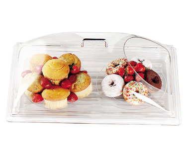 Cambro DD1220ECW135 Camwear Display Dome Cover, 21-7/8W x 14-3/4D x 8H, fits 12 x 20 tray, with end cut, chrome handles are attached, polycarbonate, clear