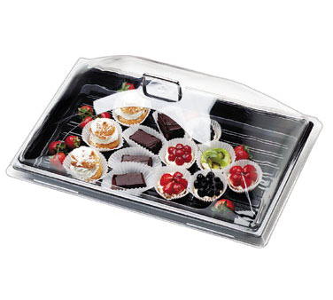 Cambro DD1220SCW135 Camwear Display Dome Cover, 21-7/8W x 14-3/4D x 8H, fits 12 x 20 tray, with side cut, chrome handles are attached, polycarbonate, clear