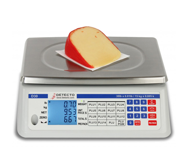 Detecto D30 Price Computing Scale, digital, lb./kg conversion, 30 lb. x 0.01 lb/15 kg x 0.005 kg capacity, 110-120/50/60/1-ph, NTEP, legal for trade