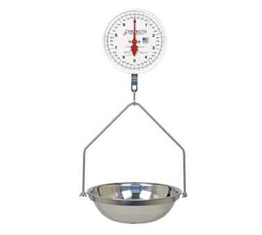 "Detecto MCS-20F Scale, hanging, fish and vegetable, 14-1/2"", 8"" dial, plastic lens, 20 lb. capacity, 10 lb. x 1 oz. dial, Made in USA"