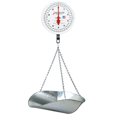 "Detecto MCS-20P Scale, hanging, galvanized scoop & chains, 8"" dial, plastic lens, 20 lb. capacity, 10 lb. x 1 oz. dial, Made in USA"