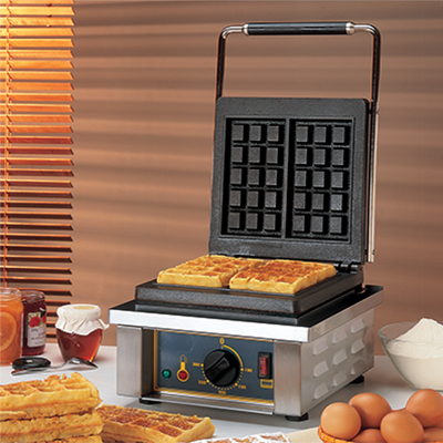 "Equipex GES10/1 Sodir-Roller Grill Waffle Baker, electric single cast iron plates, ""Brussels"" plate pattern, 120v/60/1-ph 140 amps 175 kW NEMA 5-15P UL"