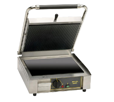 "Equipex PANINI VC Sodir-Roller Grill Panini Grill, vitroceramic grooved top & smooth bottom griddle plates, 13""W x 11""D grill area, 120v/60/1-ph 140 amps"