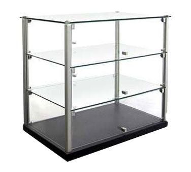 "Equipex TN583 Ambient Display, 23-1/8""W x 14""D x 20-3/4""H, 3 tier dual service 2 glass shelves"