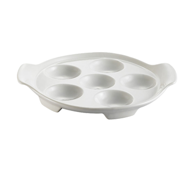 "CAC China ESD-8 Escargot Dish, 8-1/2""L x 7-1/4""W x 1-1/4""H, round, with 2 handles, 2dz Per Case"