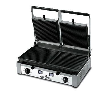 Eurodib USA PDR3000 Sirman Double Commercial Panini Grill With Cast Iron Grooved Plate