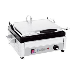 Eurodib USA SFE02345-120 Single Commercial Panini Press With Cast Iron Grooved Plates, 120v/60/1-ph