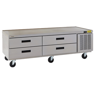 "Delfield F2975CP Refrigerated Low-Profile Equipment Stand, 75-1/4"" W, two-section, (4) drawers (pans not included), 1/4 hp, cUL, UL, NSF"