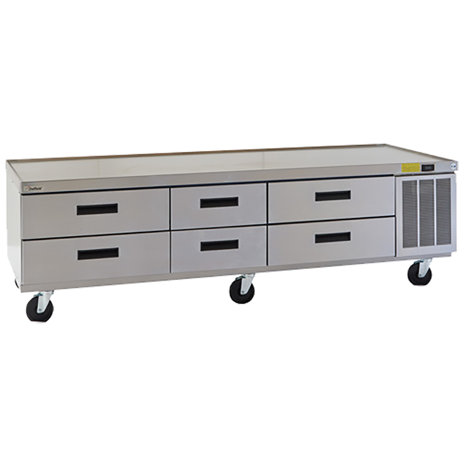 "Delfield F2987CP Refrigerated Low-Profile Equipment Stand, 87-1/4"" W, three-section, (6) drawers (pans not included), 1/4 hp, cUL, UL, NSF"