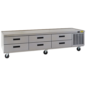 "Delfield F2999CP Refrigerated Low-Profile Equipment Stand, 99-1/4"" W, three-section, (6) drawers (pans not included), 1/4 hp, cUL, UL, NSF"